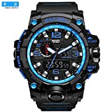 SMAEL Men's Sports Analog Digtal Wrist Watch Dual Quartz Movement Military Time Water Resistant with Backlight (Black-Blue) (Color: Black-Blue)