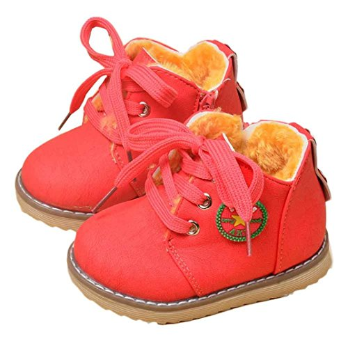 FAPIZI ❈ Boots ❈ Fashion Cute Winter Baby Boys Girls Child Army Style Martin Boot Warm Shoes (21, Watermelon Red)