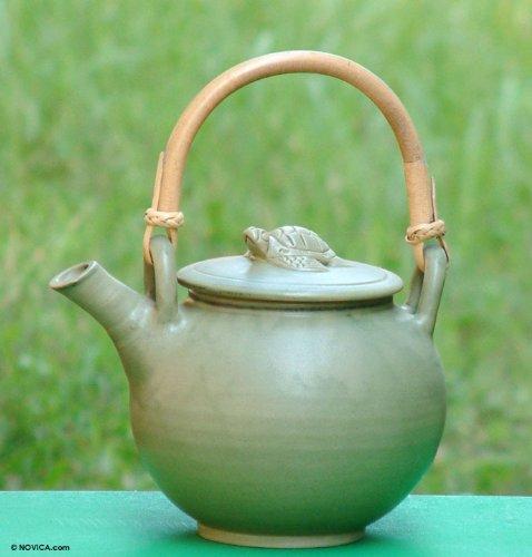 NOVICA East Meets West Ceramic Teapot, Green, 'Turtle'