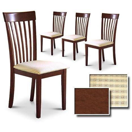 Cappuccino / Espresso / Dark Oak Finish Wood Kitchen Dining Set of 4 Chairs
