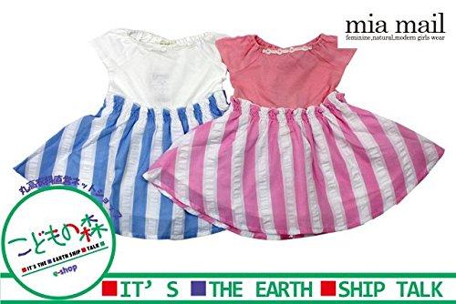 【子供服】 MIAMAIL (ミアメール) サッカーストライプ切替ワンピース 80cm~130cm H32311