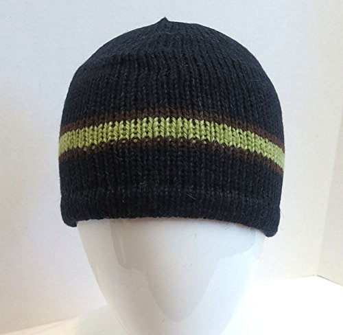 Alpaca Youth Boy 7-12 Yrs Wool Fleeced-Lined Beanie Hat Handmade Bolivia Navy front-591498