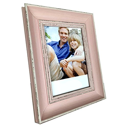 8 x 10 Inch Vintage Wood Weathered Look Easel Stand Photo Picture Frame - Pink 1