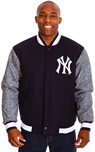 New York Yankees Mens Wool Reversible Jacket with Unique Elephant Print Sleeves (2X) (New York Yankees Hoodie Zipper compare prices)