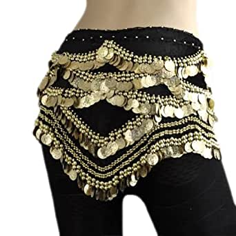 Amazon.com: BellyLady Belly Dance Hip Scarf, Gold Coins