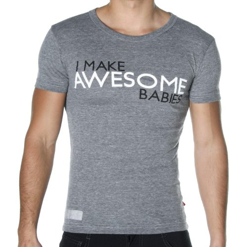 Andrew Christian Men's I Make Awesome Babies T-Shirt, Vintage Heather, Large