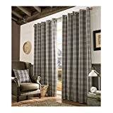 Tartan Check Fully Lined Eyelet Curtains - Slate/Grey Charcoal 66x72. One Pair will be Supplied (168x183cm)
