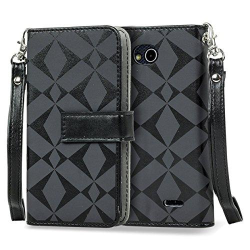 SOJITEK LG Optimus L90 D405 D410 W7 Premium Black Diamond on Black Series Color PU Leather Wallet Case with Stand / Removable Strap, Card & Money Pockets, ID Window Slots Pouches (Lg Optimus L90 Case Strap compare prices)