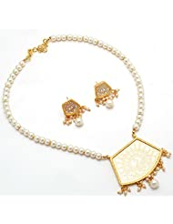 Thewa Withe Latest Pearl Locket Set.Natural Beauty One Gram Gold Plated Kundan Meena Polki Jade Jadau Jewelry...