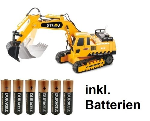 RC-Bagger-127-Kettenantrieb-4-2-Kanal-ferngesteuert-mit-Motorsound-Hupe-und-Licht-INKL-BATTERIEN-komplett-Set