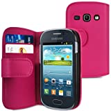 IGloo Leather Vertical Wallet Style Case Cover For The Samsung Galaxy Fame S6810 Mobile Phone - Pink