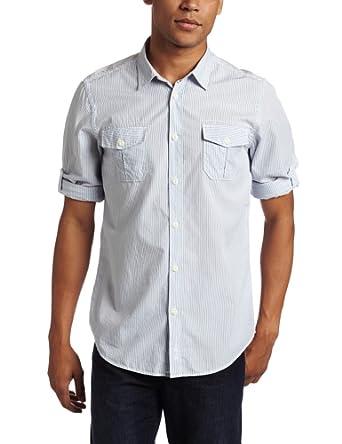 Ben sherman men 39 s laundered easy stripe long sleeve woven for Starch on dress shirts