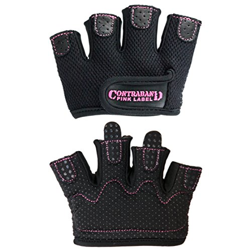 Contraband Pink Label 5537 Womens MICRO Weight Lifting Gloves w/ Grip-Lock Padding (PAIR) (Black, Small)