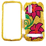 ACCESSORY BLING STONES COVER CASE FOR MOTOROLA PHOTON 4G / ELECTRIFY MB855 PINK FLOWERS GOLD