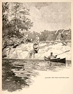 1893 Wood Engraving Weir River Rottenacker Germany Canoe Paddle Europe Waterfall - Original Wood Engraving