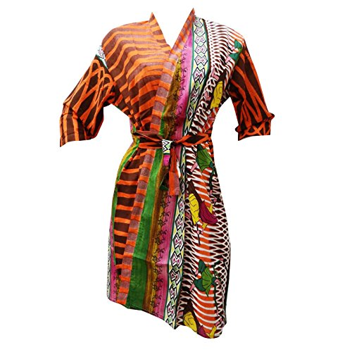 Cotton Orange Abstract Crossover Robe Bridesmaid Gift Spa Wrap Getting Ready Robes front-984207