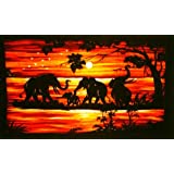 Batik Wall Hangings - Elephants in Sun Setby Nethara