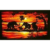 Batik Wall Hangings - Elephants in Sun Setby Nethara