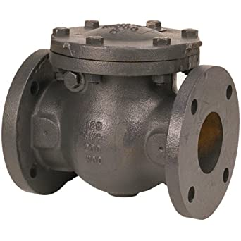 "NIBCO F-918-B Cast Iron Irrigation Check Valve, Horizontal Swing, Class 125, Bronze Seat, 6"" Flanged"