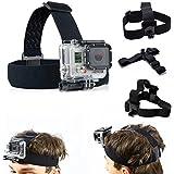 SAVFY Head Strap Mount For GoPro Hero4 3+ 2 1 Sport Action Camera - Elastic Adjustable Head Harness Belt Strap...