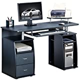 Piranha Large Black Computer Desk with 2 Drawers and 4 Shelves for the Home Office PC 5g