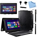 BIRUGEAR Leather Keyboard Portfolio Stand Case w/ Stylus Headset Screen Protector for Asus Transformer Book Trio ( TX201LA ) - 11.6 inch Detachable 2-in-1 Touchscreen Laptop Tablet PC ( Black Case)