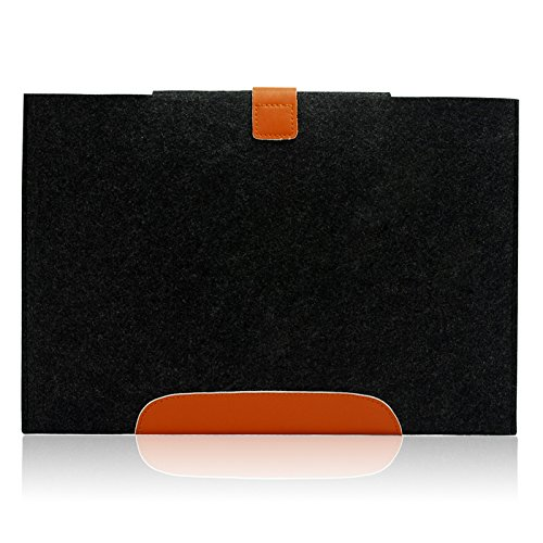 Lavievert Handmade Gray Felt Case Leather Bottom Bag Sleeve with Leather Strap Magnetic Button for Apple 11