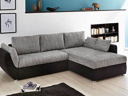 Ecksofa Couch Tifon 272x200cm, Strukturstoff grau Mikrofaser schwarz, Bettfunktion Polsterecke Schlafsofa Sofa
