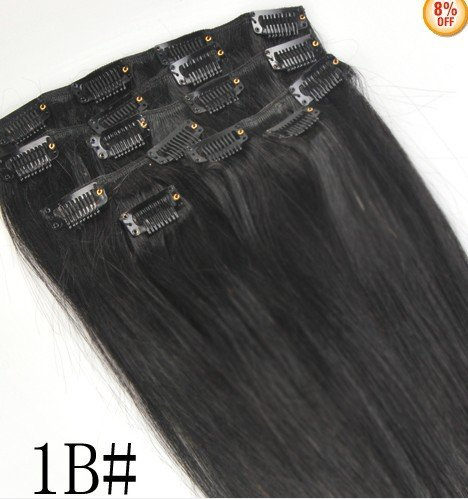 """26"""" Clips In Remy Human Hair Extension Attach Straight 1B# Jet Black 120G"""