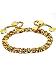 18K Gold Plated Noble Women's Bracelets Hearts Pendants Twisted Chain Link Wristband Elegant Wedding Party Bride...