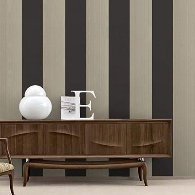Bold Stripe' wallpaper in Charcoal & Beige (Full Roll) by wallpaper heaven