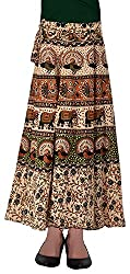 Fashiana Women Animal Print Cotton Long Warp Around Skirt Open Waist