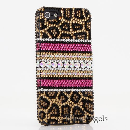 Great Sale Bling iphone 5 5S 3D Swarovski Luxury Crystal Diamond Case Cover Faceplate Leopard Design (100% Handcrafted by BlingAngels® with Carry Pink Pouch)