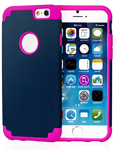 "Mylife Navy Blue And Pink {Rugged Design} 2 Layer Hybrid Case For The New Iphone 6 (6G) 6Th Generation Phone By Apple, 4.7"" Screen Version (Single External Fitted Hard Protector Shell + Full Body Internal Silicone Easy-Grip Bumper Gel Protection) front-51537"