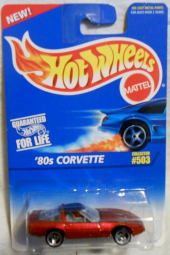 Red 80's Corvette with 3 Spoke Wheels Hot Wheels Collector #503