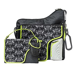 jj cole collections system diaper bag black damask discontinued by manufacturer baby. Black Bedroom Furniture Sets. Home Design Ideas