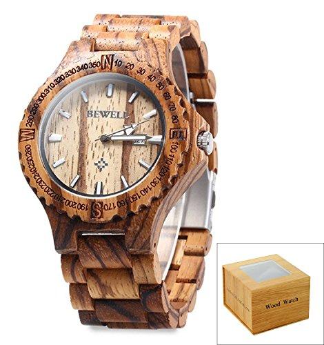 Bewelll Men's W023A3 Zebrawood Analog  Japanese Miyota Quartz Wood Watch