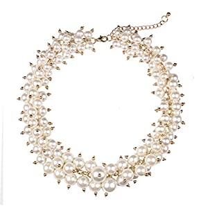 SunIfSnow Luxury Fashion Color Pearl Beads Clavicle Short Chain Necklace white