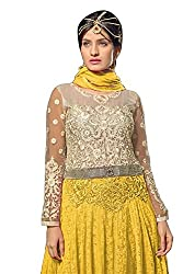 Vibes Womens Net Patch Work Anarkali Dress Material (V217-6004 _Yellow _Free Size)