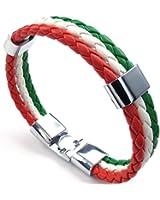 KONOV Bijoux Bracelet Homme - Drapeau Italien Italie Manchette - Cuir - Alliage - Fantaisie - pour Homme et Femme - Chaîne de Main - Couleur Vert Blanc Rouge
