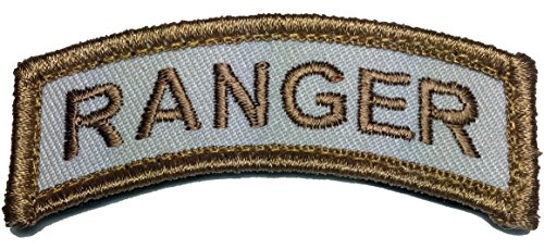 Patch Squad Men's Ranger Tab Embroidered Rocker Patch (Tan/White) (Military Ranger Patch compare prices)