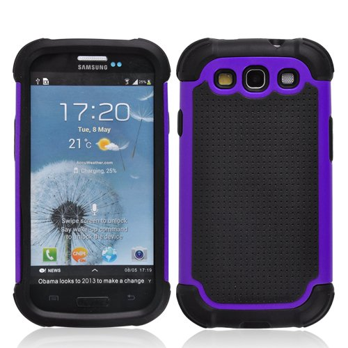 SOOPER Purple Defender Heavy Duty Protective Hard Full Body Cover Case for Samsung Galaxy i9300 S3 + Free Screen Protector (Purple)