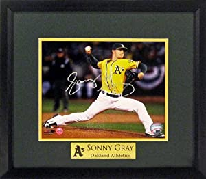 Oakland Athletics Sonny Gray Autographed 8x10 Photograph with Floating Plate Framed... by Sports Gallery Authenticated