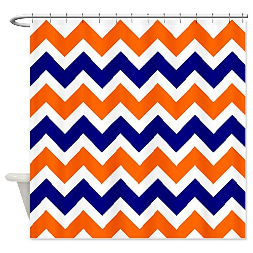Orange Blue Chevron Shower Curtain