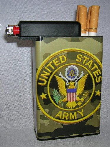 Cigarette Case Army with Built on Lighter Holder