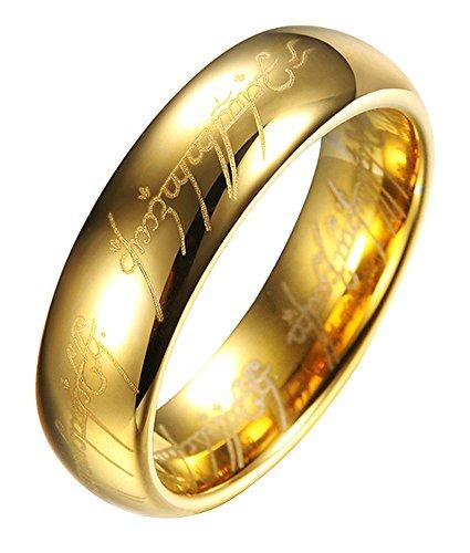 """Anello originale de """"Il Signore degli anelli"""", in tungsteno, con incisioni laser all'interno/esterno, in sfarzosa custodia di metallo, Placcato oro (R)"""
