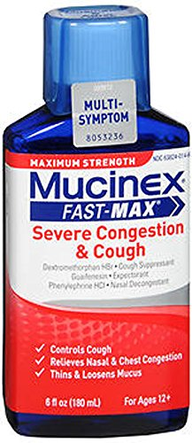 Mucinex Fast-Max Adult Severe Congestion and Cough Liquid, 6 Ounce