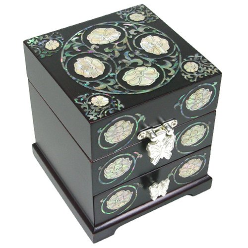 Wooden mother of pearl jewellery box with drawers, lacquer jewelry case with mirror, black flower. Handmade oriental gift.