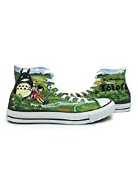 All Star Converse Shoes Neighbor Totoro High Top Men Women Hand Painted Green Canvas Shoes