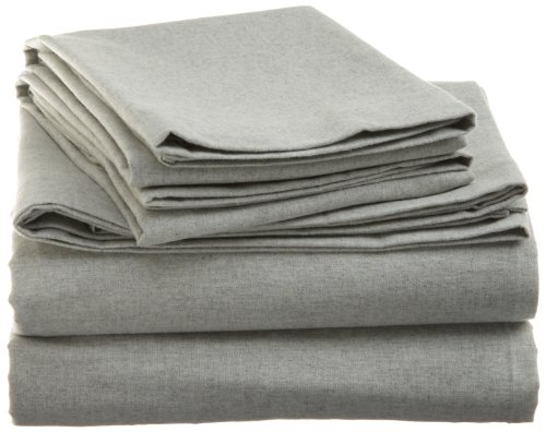 La Rochelle Heather Flannel Queen Sheet Set, Sage front-1074718
